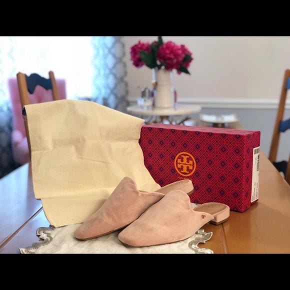 Tory Burch Carlotta Velvet Flat Mule Loafer, Light Pink